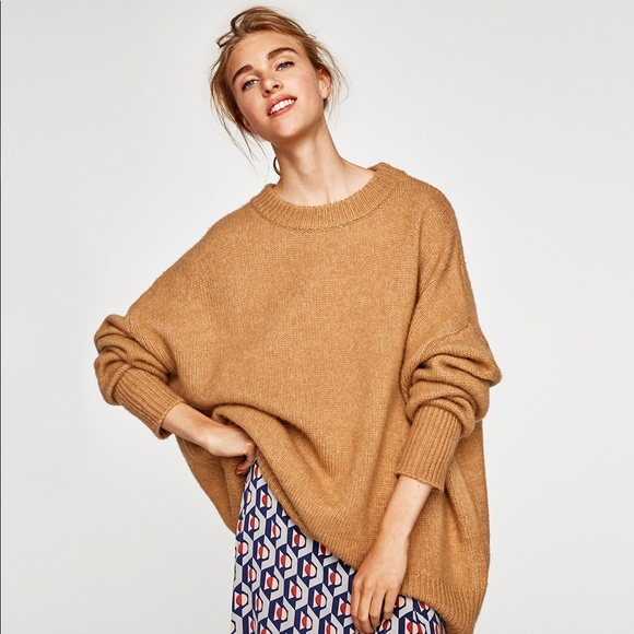 check-out c387d 5b23a ZARA | Camel oversized sweater